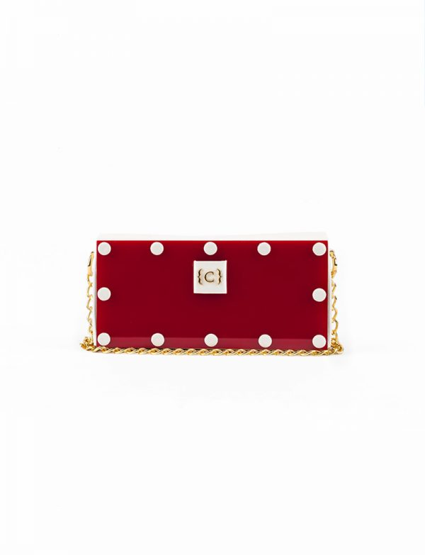 Red Acrylic White Leather Clutch Cuazar