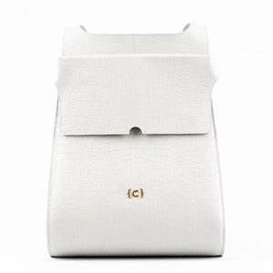 Croc White Leather Backpack Cuazar